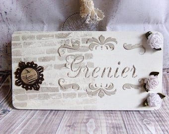 "Door plate ""Attic"" shabby chic"