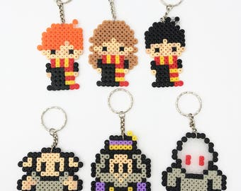 Harry Potter Hama Perler Beads Keyrings: Harry, Hermione, Ron, Voldemort, Dobby, Dumbledore, Hedwig, Deathly Hallows etc