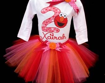 Elmo inspired Birthday tutu Outfit