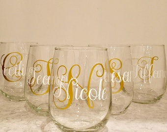 Personalized monogrammed stemless wine glass SETS/ Personalized Wine Glass/ Monogrammed wine glass SETS/ Engagement wine glass/ Mothers Da