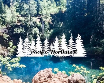 Pacific Northwest With Trees Car Decal FREE SHIPPING