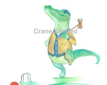 Printable Nursery Art: Crocodile playing croquet