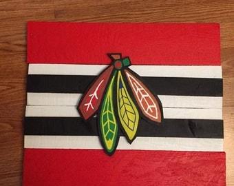 Chicago Blackhawks Hawks Hand Painted Sign