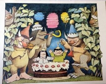 Maurice Sendak print, Happy Birthday, vintage poster print MS43