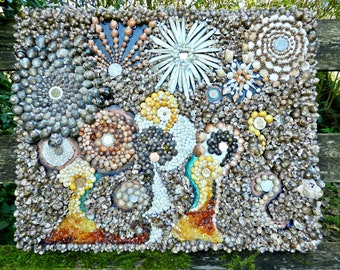 Handmade Amber and Seashells Picture (with coins from over the world)