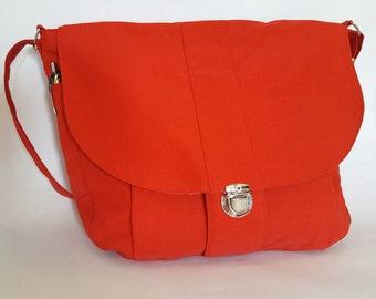 The Newport Red Messenger Bag , Canvas Shoulder Bag, Cross Body Bag,  Travel Bag, Diaper Bag,  Red Purse, Red Handbag, Red Shoulder Bag