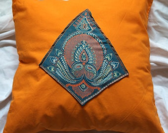 Mathura series 3: cushion 40x40cm (16 x 16) vintage green synthetic silk sari, orange cotton, Indian motifs.