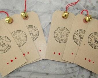 Christmas Gift Tags, Merry Christmas, Reindeer, Jingle bells