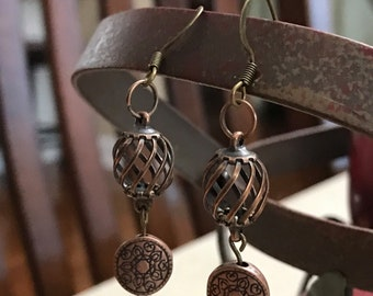 Elegant Antique bronze dangle drop earrings with antique lentil bead and bronze cage, gift under 15 gift for her handmade earrings