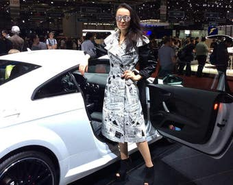 Luxurious and extravagant trench coat jacquard design newspapers in the world, extra spring coat sewing