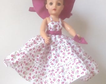 18 inch Miss Revlon doll dress. White summer dress with red and pink flowers , matching hat and purse.