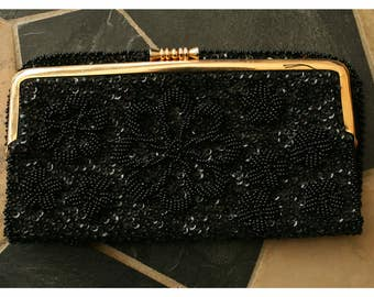 Vintage Black Beaded Purse: Made In Hong Kong, Evening Bag, Clutch,
