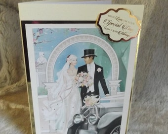 Art Deco Wedding Day Card, 3D Wedding Card for the Happy Couple, Bridal Shower, Handmade decoupage card.