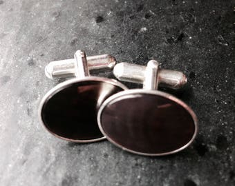 Black mother of pearl handmade cuff links