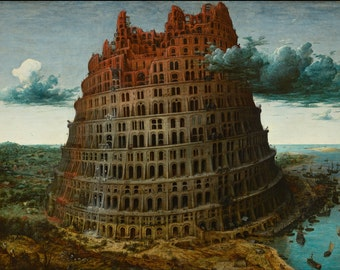 Pieter Bruegel the Elder : The Tower of Babel (1563-1565) Canvas Gallery Wrapped Wall Art Print
