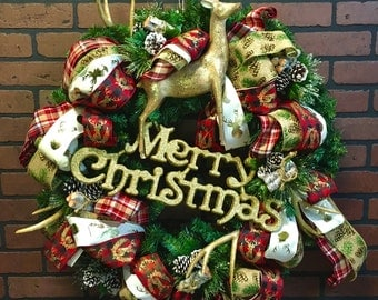 """Deluxe Deerhorn Christmas Wreath - 30"""""""