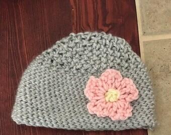 Crocheted Newborn Hat with Flower