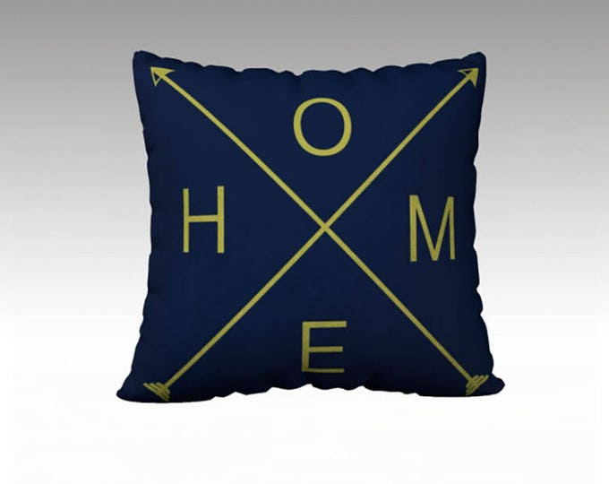 HOME Navy and Green 22x22 pillow cover, Typography Throw Pillow, Navy and Green Pillow, Pillow Cover, Sofa Pillows, Decorative Pillow