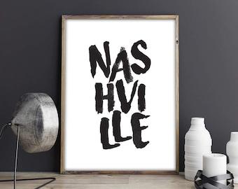 Nashville Digital Print, Nashville Poster, Digital City Art, Nashville TN City Print, Digital Wall Art, Wall Decor, Apartment, Office Decor