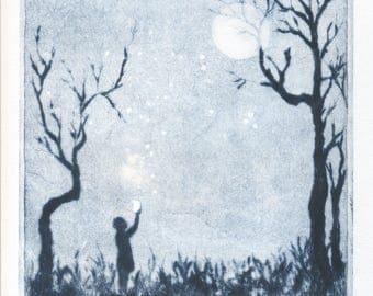 "original engraving ""fireflies"""