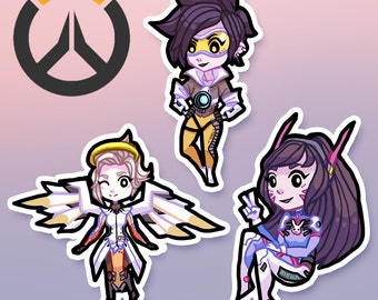 Overwatch stickers - Mercy, D.va and Tracer