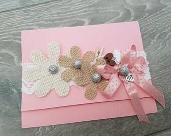 Handmade gift card ,beautiful flovers decoration.