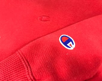 CHAMPIONS Red On Red C Logo Red Crewneck Sweatshirt Size X Large