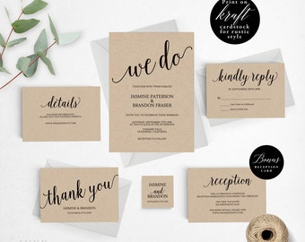 Rustic Wedding Invitation Template, We Do Wedding Invitation Printable, Vintage Invitation, Cheap Invitation, DIY PDF Instant Download #E006