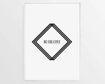 Inspirational Poster, Black and White Print, Minimalistic Print, Motivational Print, Creativity Quote, Table Decor, Digital Nomad Poster