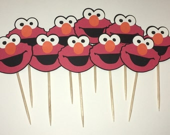 ELMO CUPCAKE TOPPERS, Elmo Birthday Party, Elmo Birthday Decoration, Sesame Street Birthday  Party