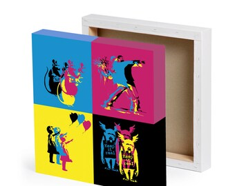 "Banksy styled stencils wall art print canvas 20"" x 20"" 500mm x 500mm CMYK"