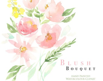 Watercolour Flower Clipart - Blush Bouquet - Watercolor element clip art, printable download for DIY Invitation and design projects
