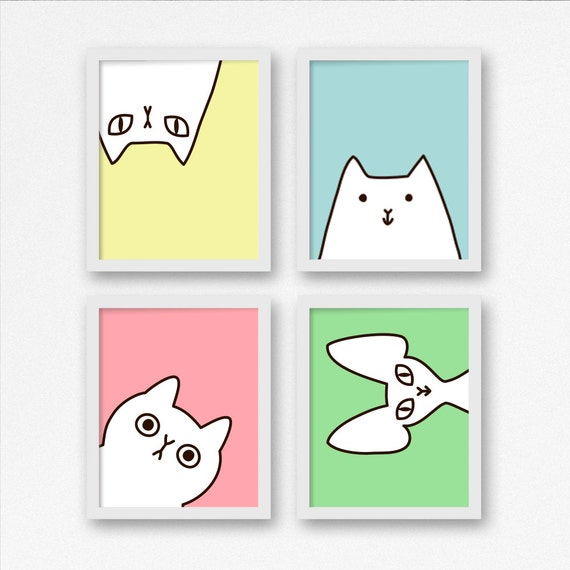 4cats set, cats×4, 4cats with colorful background