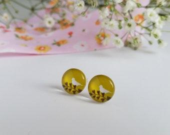 Autumn green bird stud earrings, glass cabochon earrings