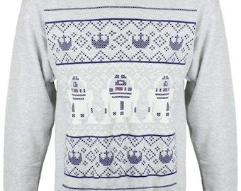 New Star Wars R2D2 Jedi Christmas Funny  Xmas Sweater // Grey Sizes Small-XXL