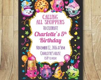 Printable shopkins birthdayparty invitation chalkboard