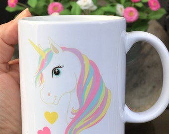 Mug Unicorn gift personalized with first name rainbow color