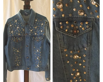 Vintage Denim Jacket 80's studded bejeweled encrusted bling L Gazoz