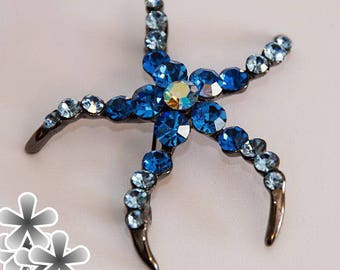 """Brooch """"Starfish"""", stones of blue color, decoration, costume jewelery, for women, gift, crystals, accessory, crystal."""