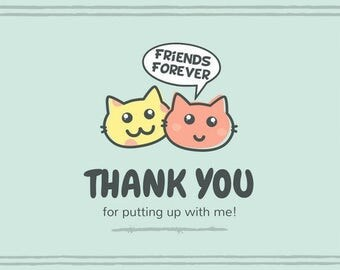 Friends Forever Thank You Cat Card Digital Download
