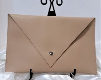 Cream Pebble Leather Clutch