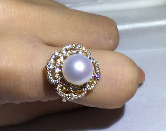 gold filled ring promise ring for her freshwater pearl ring sterling silver ring for women adjustable ring for women