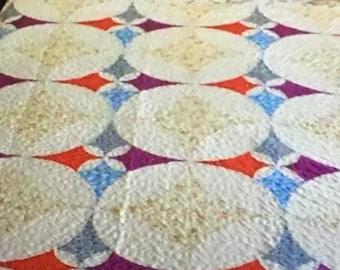Queen size 90x90 parchwork quilt.  Machine pieced, machine quilted.all cotton