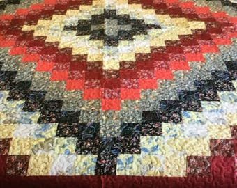Queen size trip around the world 86x86 quilt various color floral.