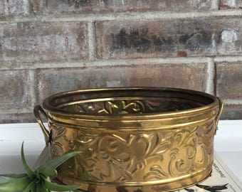 Vintage Brass Planter with Handles//Made in USA