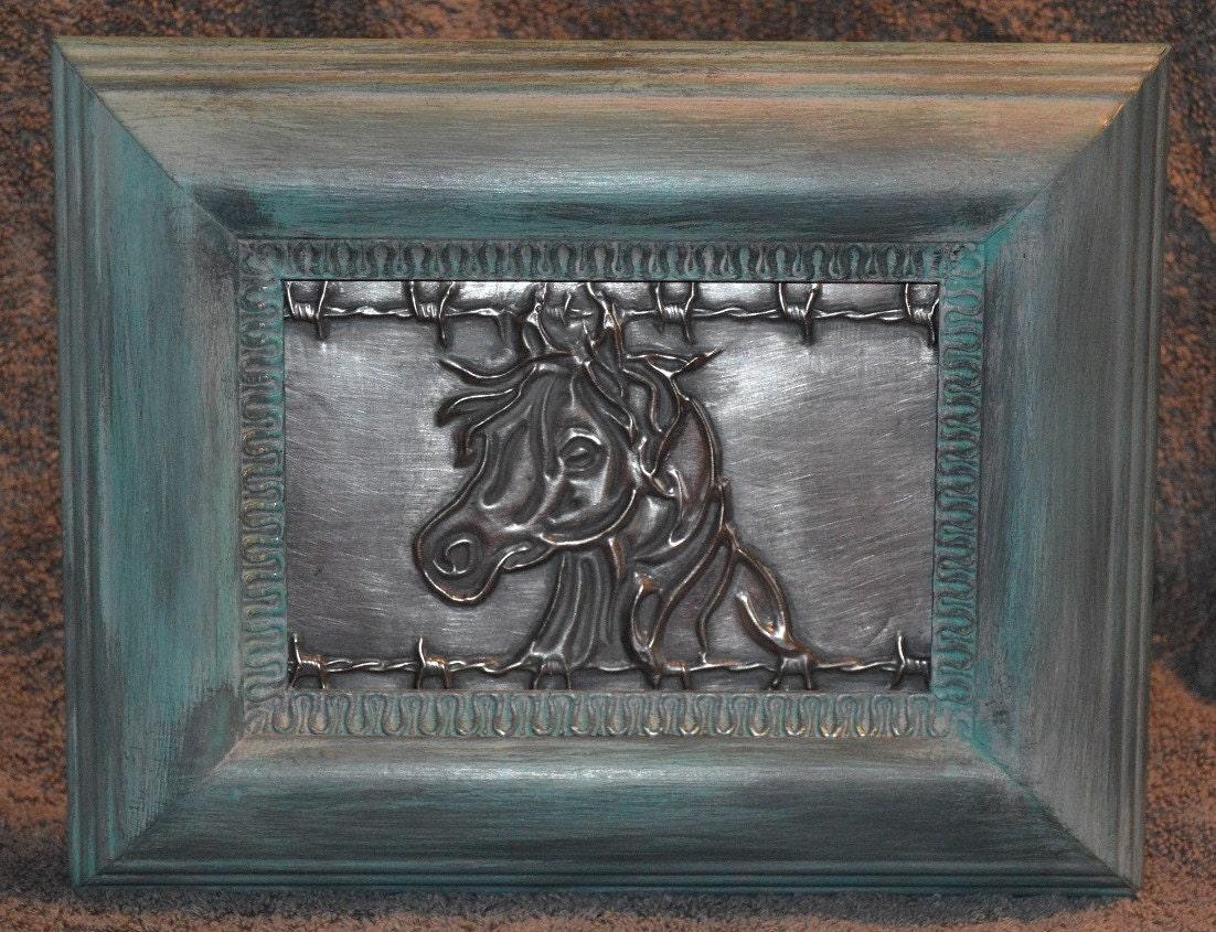 Western Horse Pewter Metal Art - Embossed in a distressed chalk ...