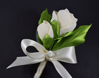 White rose Boutonniere Mens silk wedding boutonnieres