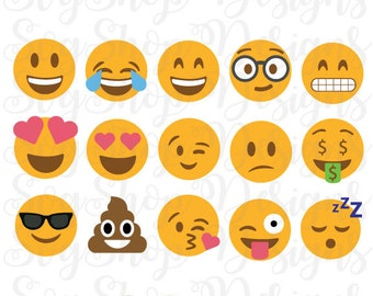 Emoji SVG Collection Smiley face vector clipart Emoji cut files Digital files Silhouette Cricut Vinyl cutters, Svg Dxf Eps Png Instant