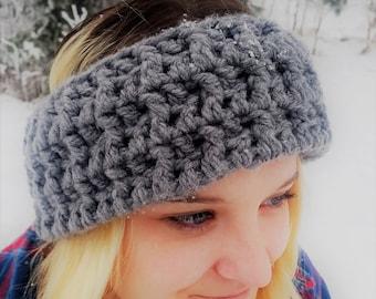 Reversible Grey Crochet Headband