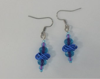 Custom Hand Made Earrings Sapphire Blue Rosette And Blue Glass Accent